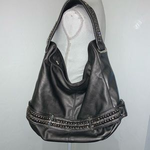 Satchel Bag Gray with studded Trim on handle & bum